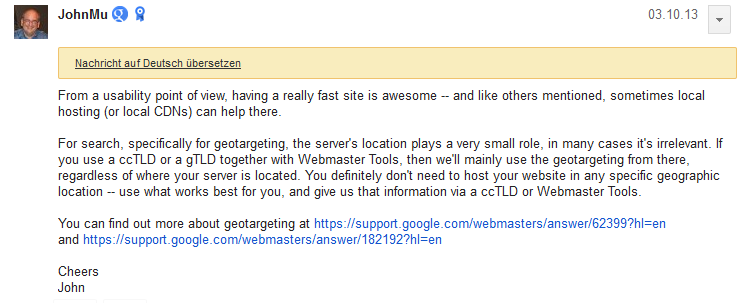 Google gibt Auskunft über den optimalen Serverstandort