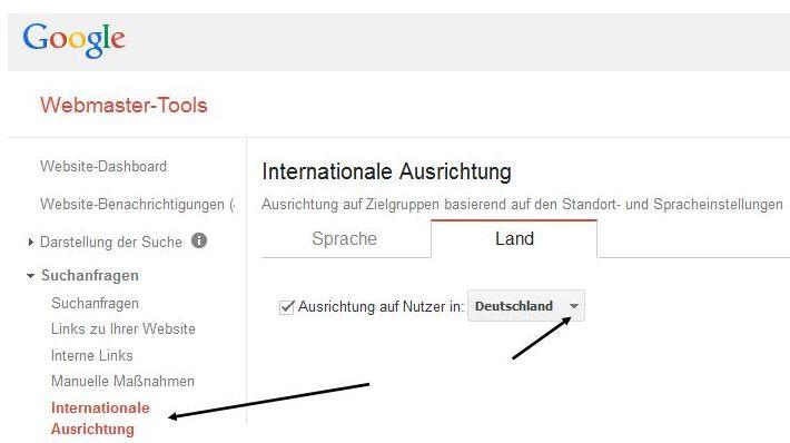 geo lokalisierung in den google webmastertools einstellen