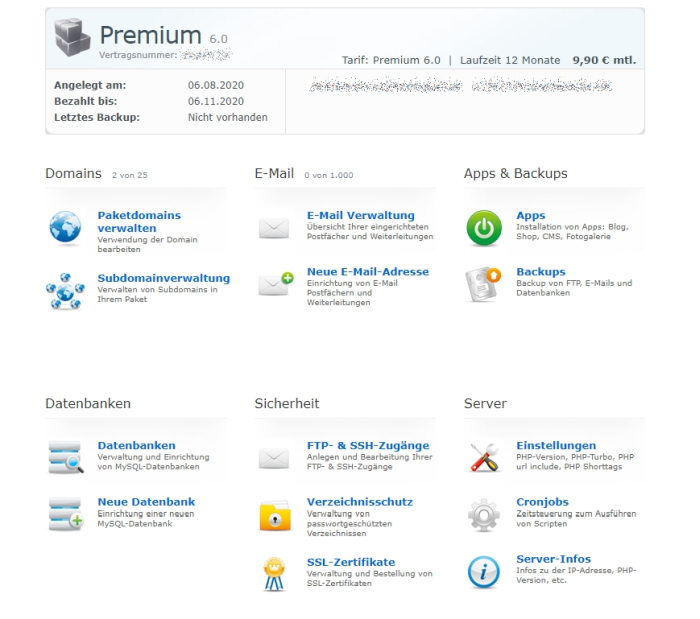 Admin-Panel von Checkdomain